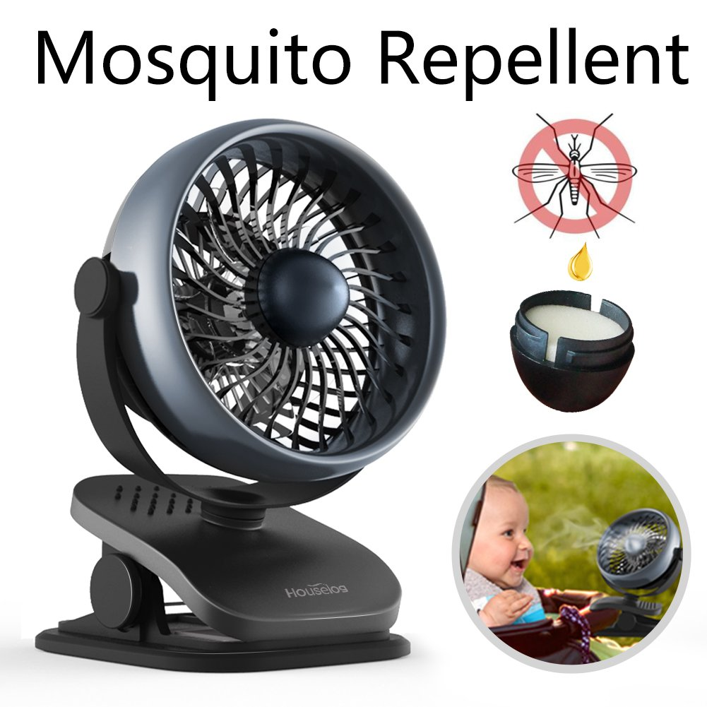 Houselog Clip-on Stroller Fan, Mosquito-Repellent, Essential-Oil-Diffused and Rechargeable Battery -Operated Accessory for Urbini, Uppababy, Graco, Britax, etc (Black)