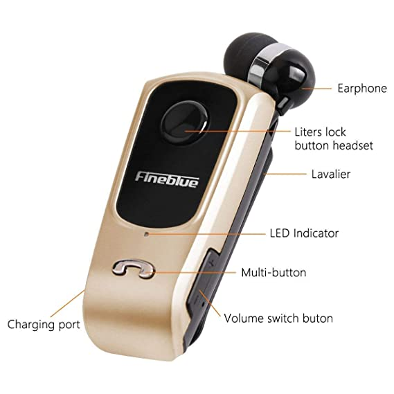 Amazon.com: Fineblue F920 Wireless Driver Auriculares Bluetooth Earphone Vibration Wear Clip Stereo Sport Headset for Driving Sports (Gold): Car Electronics