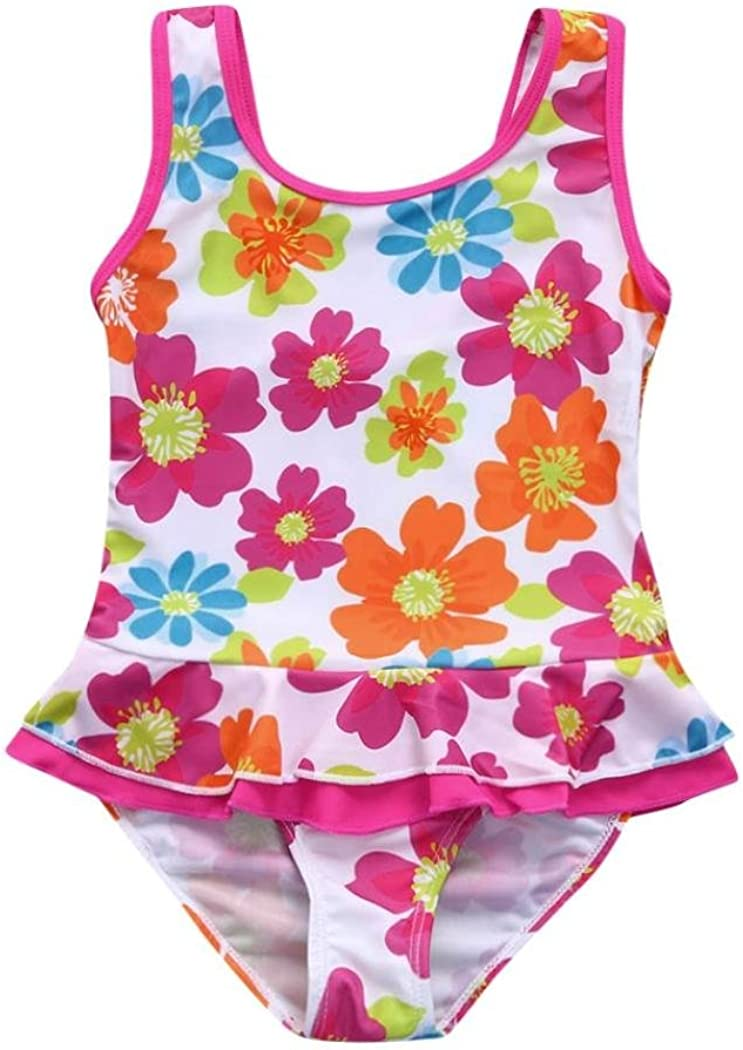 Vincent/&July Toddler Kids Girls Swimwear Flower Print Ruffle One Piece Dress Bathing Swimsuit