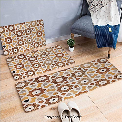 FashSam 3 Piece Flannel Bath Carpet Non Slip Detail of Inlay and Geometric Carvings Asian Taj Mahal Tomb Architecture Decorative Front Door Mats Rugs for Home(W15.7xL23.6 by W19.6xL31.5 by W17.7xL53)