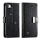 For iPhone 5 5S Wallet Case, iPhone SE Leather Cover, Luxury Shiny Sparkle Glitter Bling PU Leather [Magnetic Closure][Metal Buckle] Flip Kickstand Wallet Case with 5 Card Slots-Black