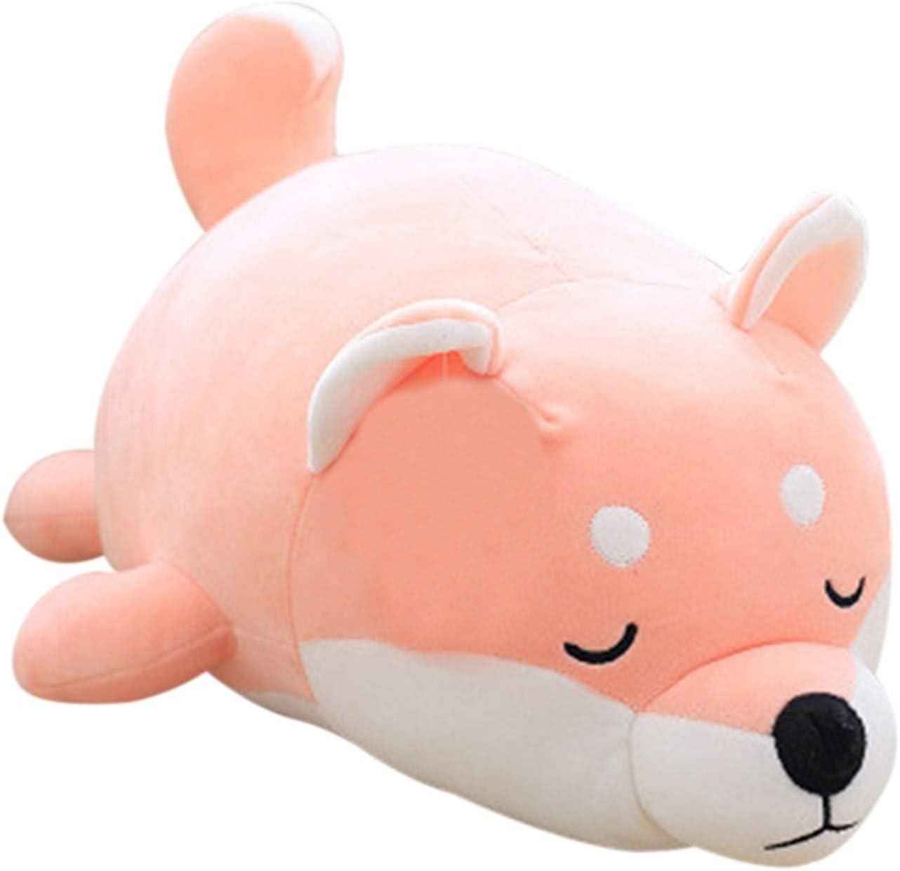 Molizhi Cute Plushies Stuffed Animal Shiba Inu Plush Toy Anime Hugging Pillow Corgi Kawaii Soft Dog Pillow Gift for Kids Boys Girls Adults (Pink, 14'')