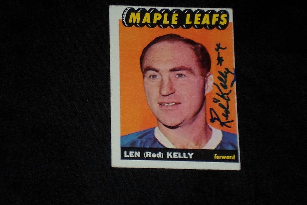 Hof Red Kelly 196566 Topps Signed Autographed Card  15 Maple Leafs  Hockey Slabbed Autographed Cards