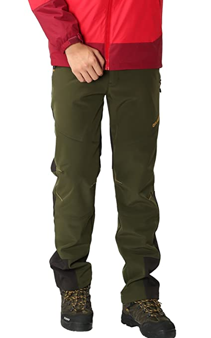 Pantalones de Montaña Hombre Pantalon Impermeable Trekking Invierno Transpirable Softshell Pantalón de Senderismo, Verde,