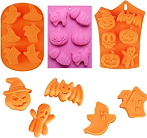 3 Pack Halloween Silicone Molds Ghost Pumpkin Baking Molds Skull Cake Molds Candy Chocolate Soap Molds Bat Muffin Pan to Make Pudding, Ice Cube, Chocolate, Cupcakes, Lilopp
