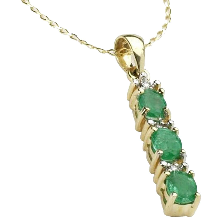 Anderson /& Webb Femme vert Collier avec pendentif /émeraude//diamant//argent plaqu/é or
