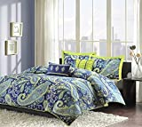 Modern Teen Girls Comforter Bedding Set with Blue and White Paisley Print with Lime Green Accents (twin/twin xl)