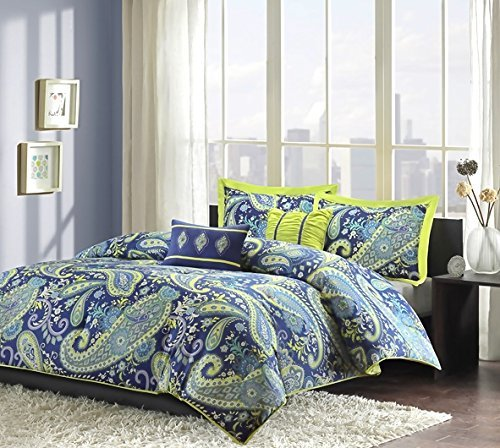 Teen Girls Comforter Bedding Set with Blue and White Paisley Print