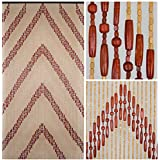 "BeadedString Natural Wood Beaded Curtain-60 Strands-77"" High-Boho Door Beads-Bohemian Doorway Curtain-35.5"" W x 77"" H-Arti"
