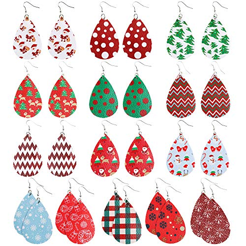 Sntieecr 14 Pairs Christmas FauxLeather Earrings Lightweight Teardrop Long Dangle Earrings Handmade Petal Drop Earringsfor Women Christmas Party Costume Decorations (Holiday Decorations Handmade)
