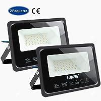 Focos LED exterior 30W Extrastar Potente Luces Led Exterior IP65, Luz de Seguridad Blanca Cálida 3000K para Terraza, Jardín, Patio, Parque, Garaje 2 paquetes …