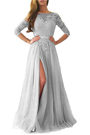 Promworld Womens Lace Long Sleeve Evening Gown A-Line Tulle Prom Dress Gray US2
