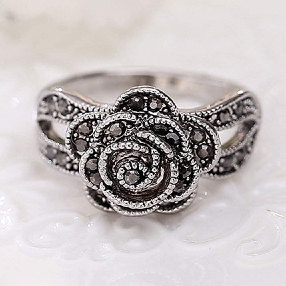 shiYsRL Exquisite Jewelry Ring Love Rings Elegant Hollow Rhinestones Butterfly Flower Jewelry Women Engagement Bridal Ring Wedding Band Best Gifts for Love with Valentines Day