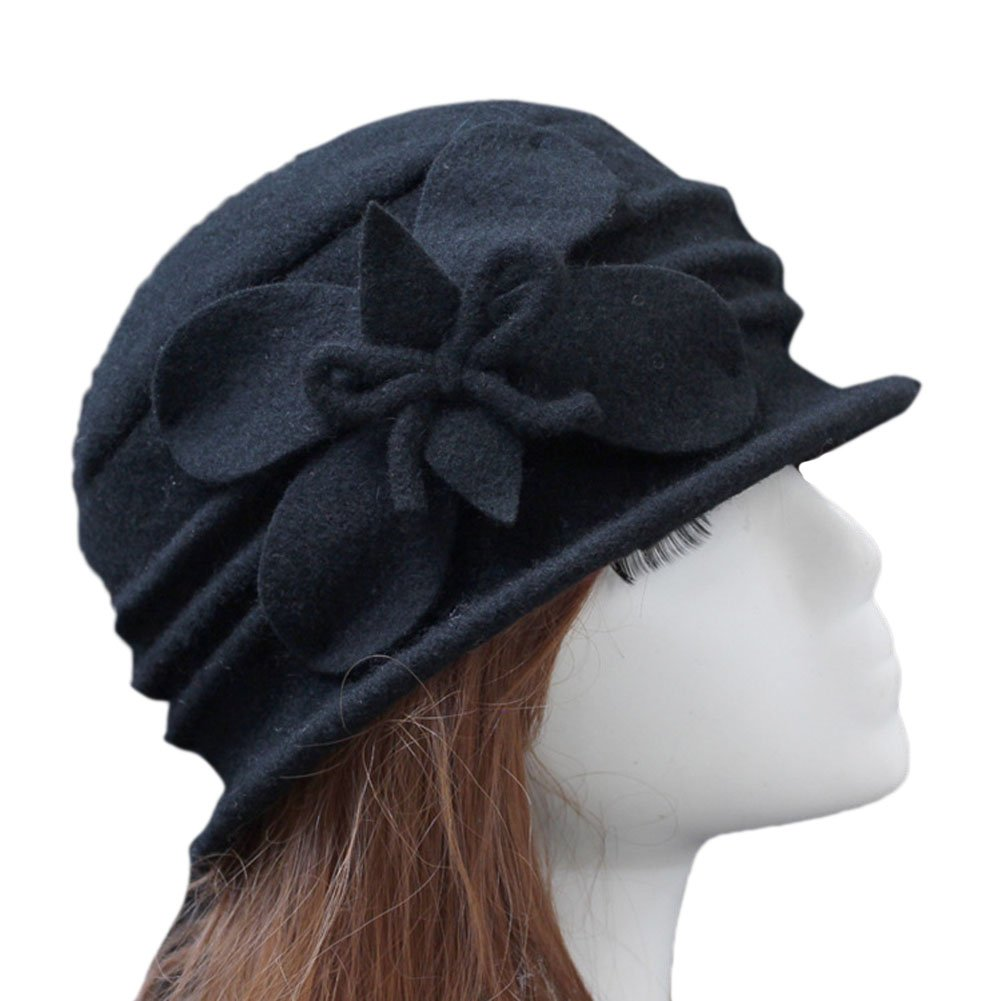 Telamee Womens Vintage Style 100% Wool Cloche Bucket Winter Hat with Flower 2017, One Size, A1 Black