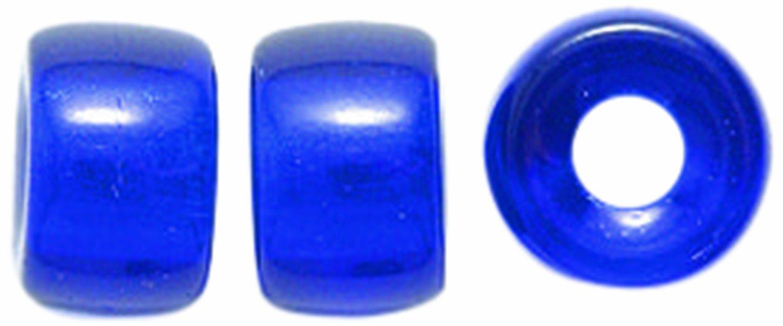 Preciosa Ornela Traditional Czech Glass Crow Roller 50-Piece Beads, 9mm, Transparent Cobalt Shipwreck Beads 9RC278