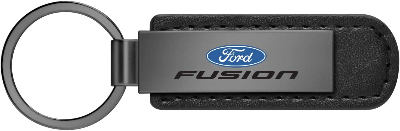 Ford Fusion Gunmetal Gray Metal Plate Black Leather Strap Key Chain iPick Image for