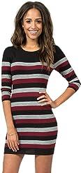 519243029d Teeze Me Juniors 3 4 Sleeve Round Neck Striped Sweater Dress