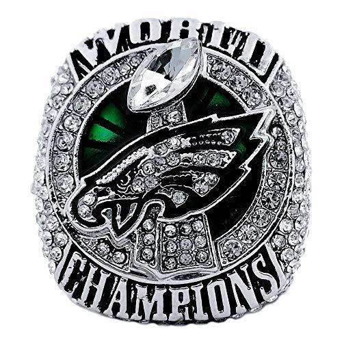 - SBCRING Philadelphia Eagles Championship Replica Ring 2017-2018 Super Bowl LII Foles and Wentz Eagles Ring Size 8/9/10/11/12/13 (11)