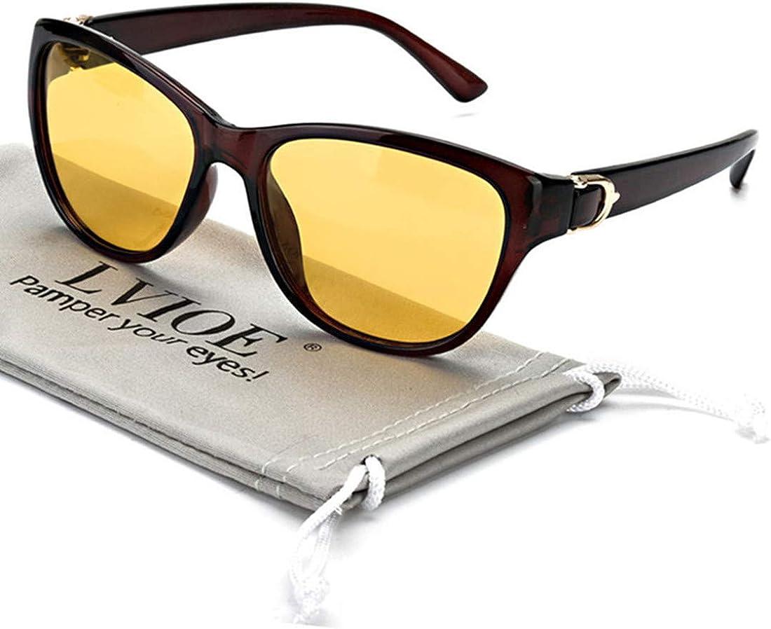 Lvioe Nachtsichtbrille Mit Polarisierten Gelben Gläsern Anti Glare Womens Nachtsichtbrille Für Regen Nebel Bewölkt 100 Uv Schutz Brauner Rahmen Gelb Bekleidung