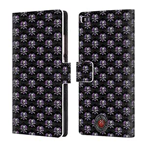 Official Anne Stokes Skull Pattern Dark Hearts Leather Book Wallet Case Cover For Huawei P8