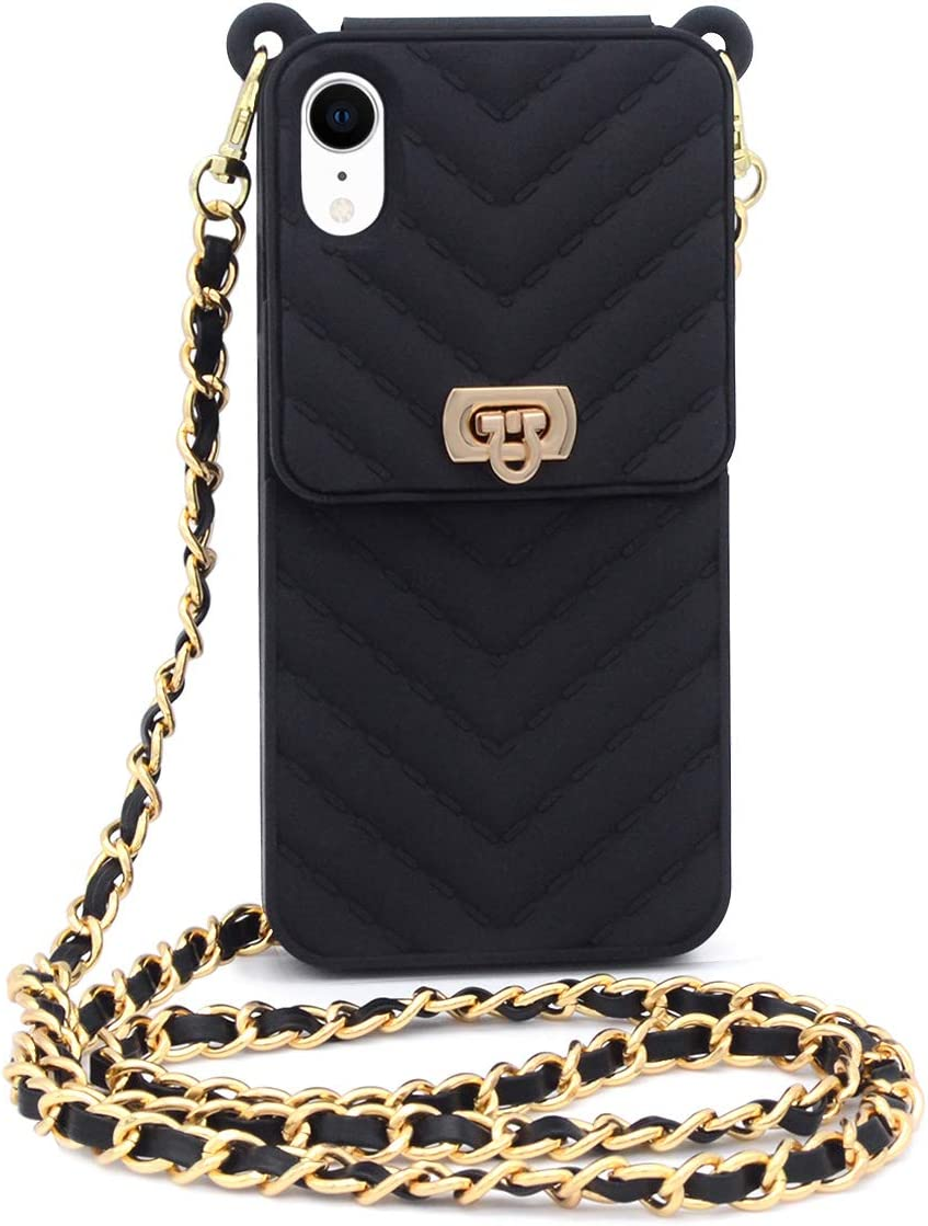 Fusicase for iPhone XR Wallet Case with Neck Strap Crossbody Chain Credit Card Holder Slot with Handbag Wrist Strap Protective Cover for Girls Women Silicone Shockproof Case for iPhone XR Black
