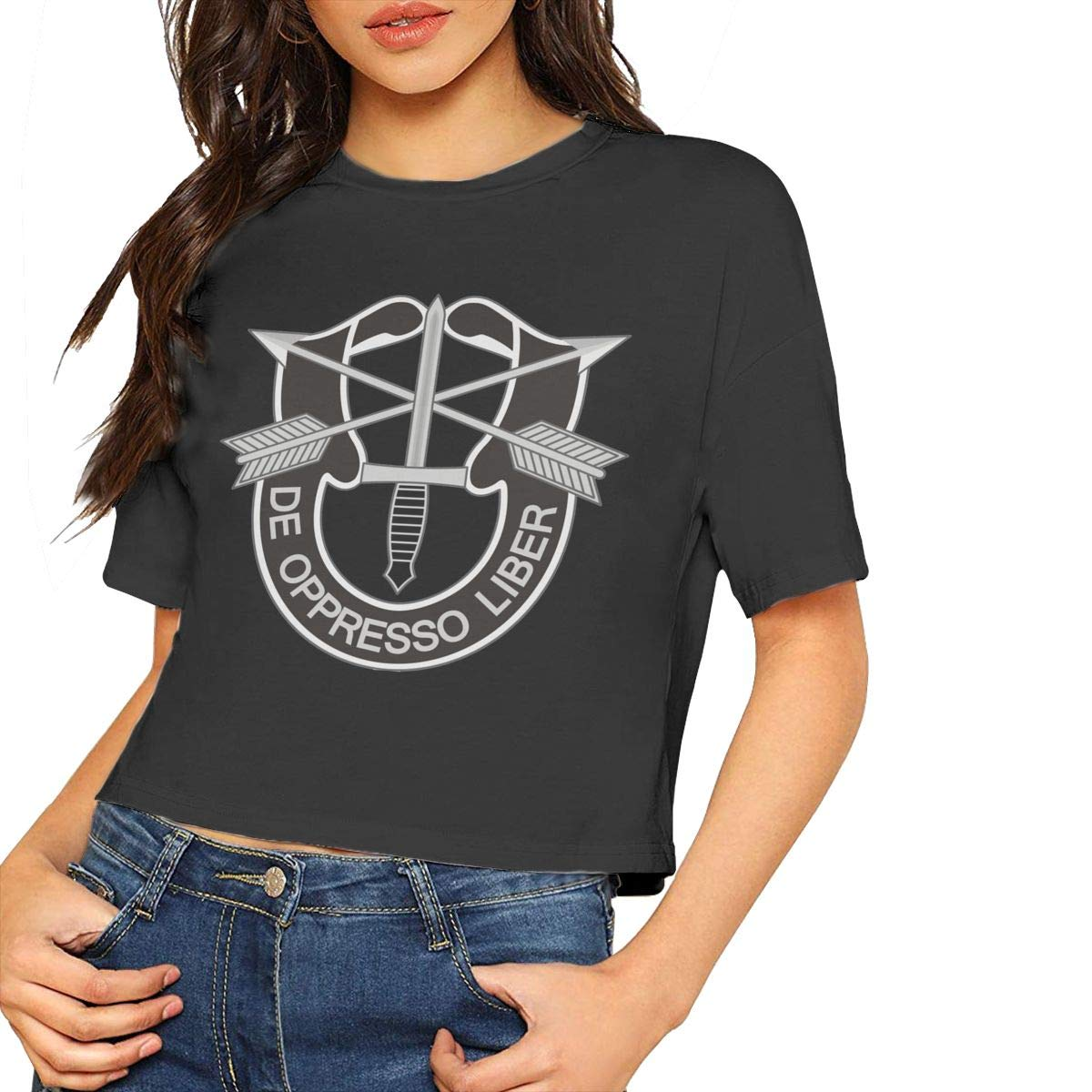 VANMASS Womens Crop Tops Army Special Forces Logo Short Sleeve Shirts