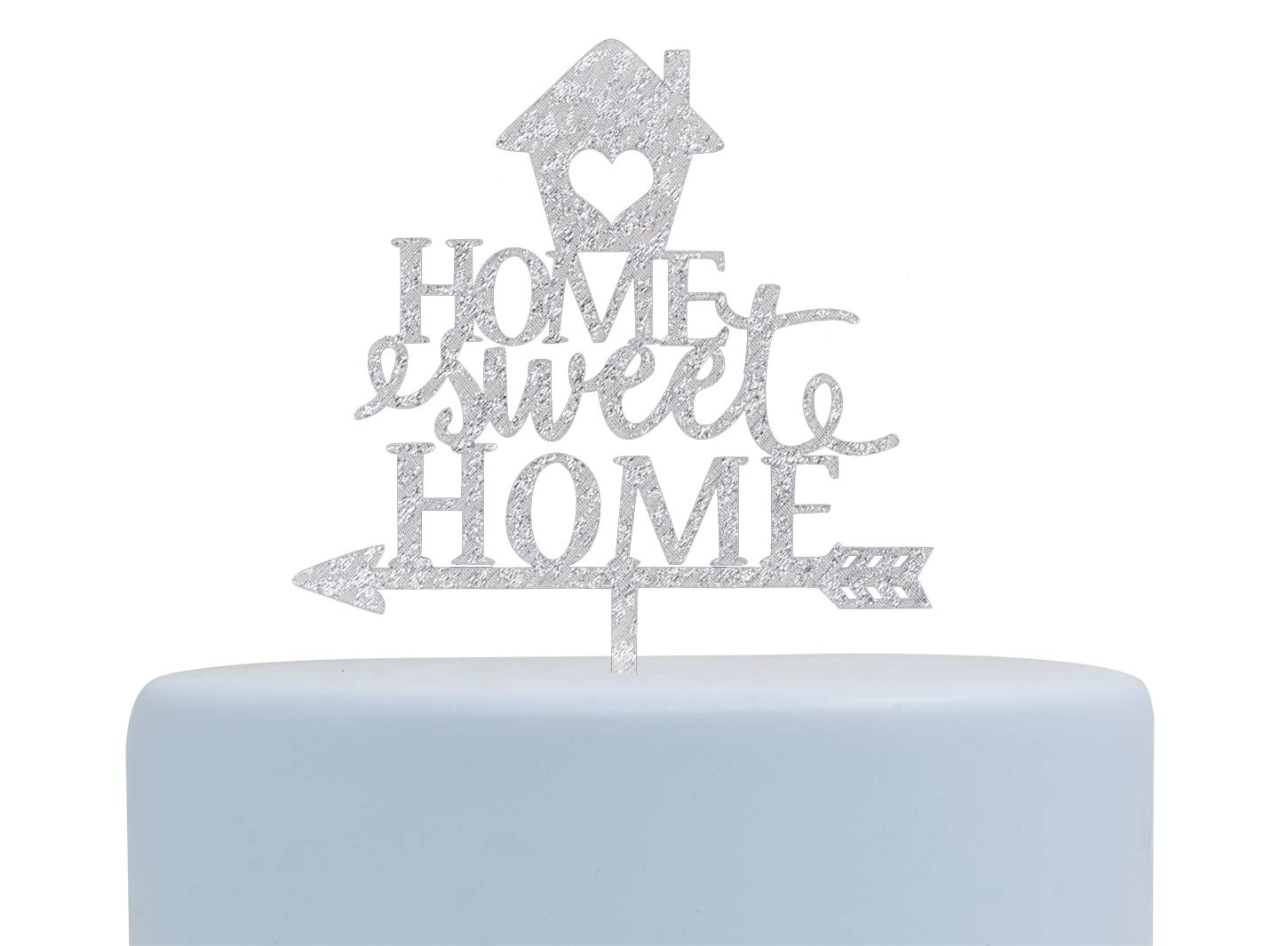 Home Sweet Home Glitter Arcylic Cake Topper, Welcome Home Decoration,Housewarming Party Decorations (Silver)