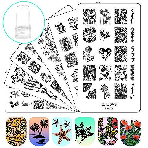Stamping Plates Nail Stamping Kit - 3pcs Double-sided Nail Stamp Plates & 1 pcs Clear Nail Polish Stamper Scraper EJB-X01&X02&X03 ()