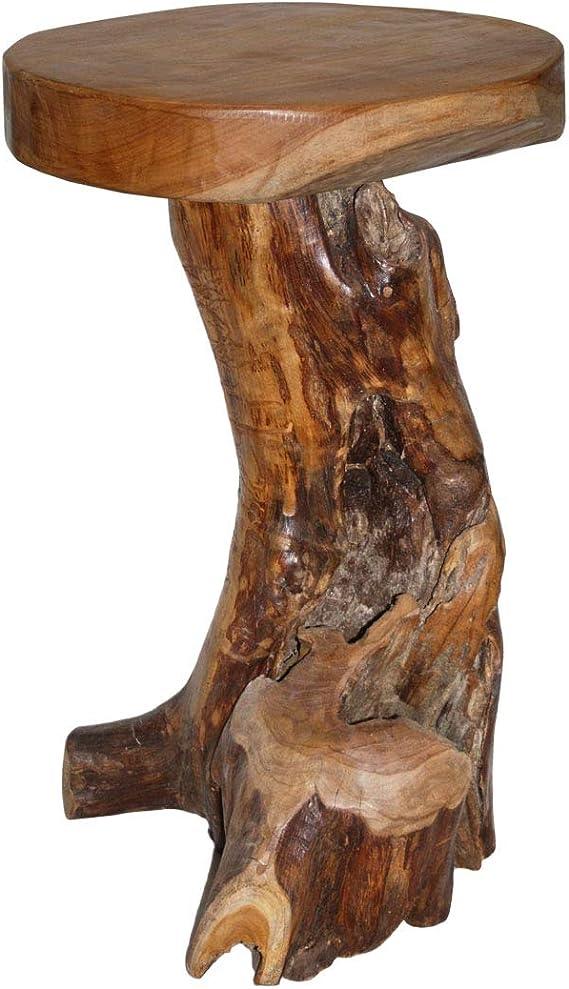 Massiv Teak Holz Bar Hocker Semar aus einer echten Teakholz Wurzel Barhocker