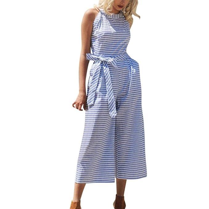 65123013dca Amazon.com  FEITONG Women Striped Waist Belted Wide Leg Jumpsuit ...