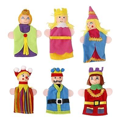 6pcs Juguete Marionetas de Mano Títeres de Dedo Figuras de Rey Reina Cabeza de Madera: Juguetes y juegos