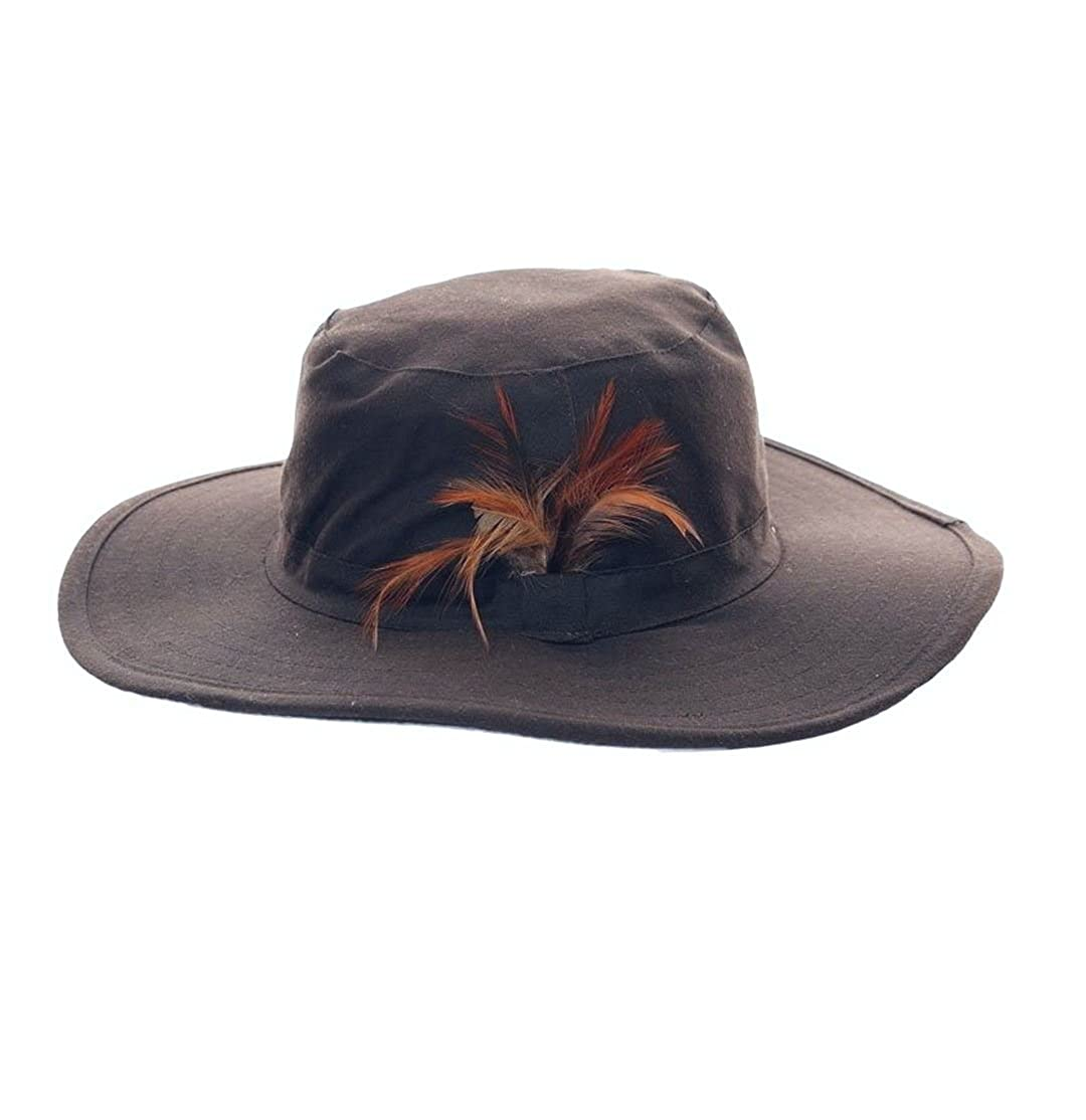 Wide Brim Australian Style Unisex Ladies & Mens Feather Trim Showerproof Wax Bush Hat