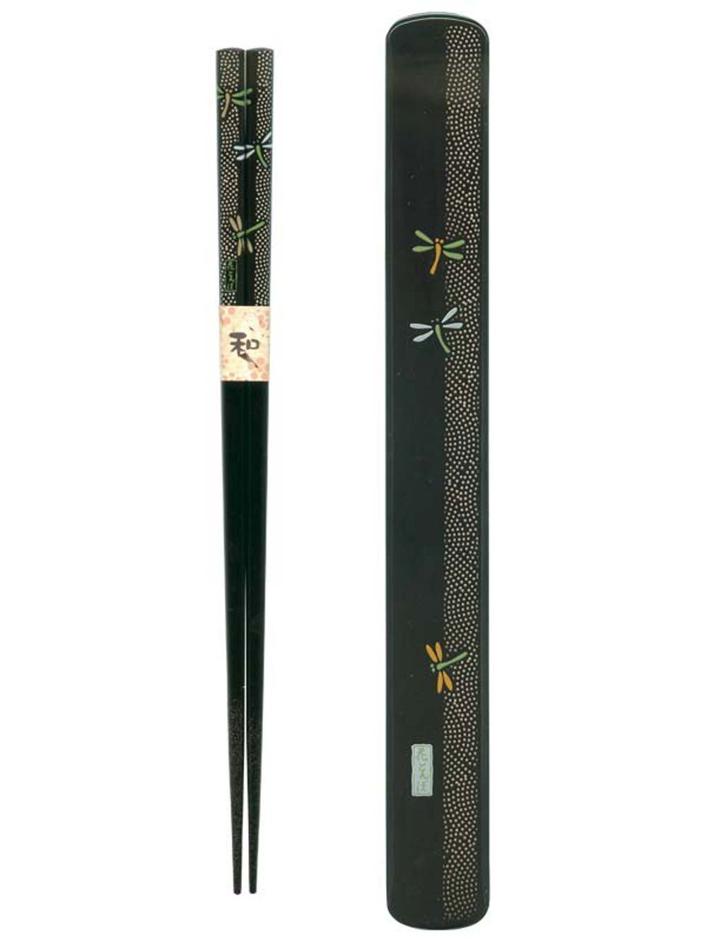 Ryu Mei 058030 Japanese Black Box and Chopstick Set, Dragonfly, 9 Inches