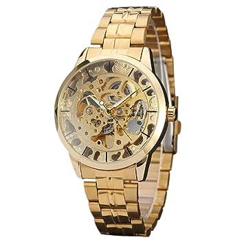Vovotrade® Hombres Reloj Mejor Marca Lujo Hueco Esqueleto Automático Mecánico Reloj Hombres (Dorado): Amazon.es: Deportes y aire libre