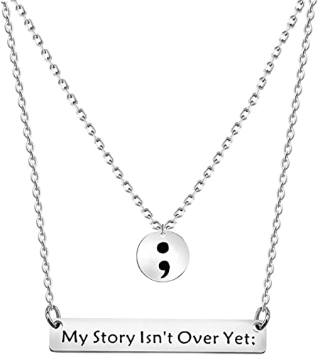 Suicide Prevention Necklace Mental Health Necklace My Story isn/'t over yet Heart Semi Colon Necklace Semi Colon Necklace Semi Colon