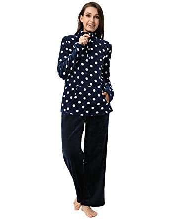 2f109b66942 Women Winter Warm Pajama Set Loungewear Flannel Tops Pants Sleepwear Navy S