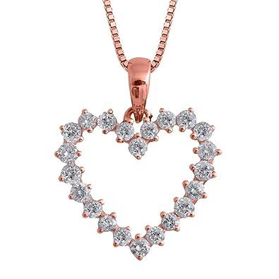 Amazon igi certified 14k rose gold heart diamond pendant amazon igi certified 14k rose gold heart diamond pendant necklace 12 carat jewelry aloadofball Gallery