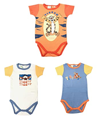 59be9dfadfb03 Disney Winnie-The-Pooh Tiger Baby Boys Short Sleeved Bodysuit Vests 6-24  Months Pack of 3 100% Cotton (12 Months): Amazon.co.uk: Clothing