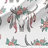 Cow Skull Fabric Boho Longhorn Cow Skull With Feathers And Flowers Peach by Caja Design Printed on Basic Cotton Ultra Fabric by the Yard by Spoonflower