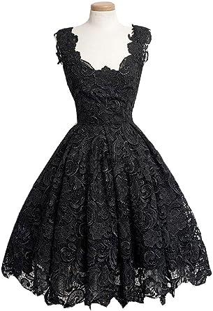 Black Lace Knee Length Dress