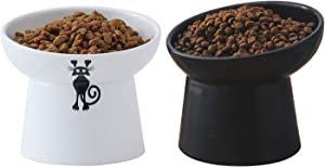 TAMAYKIM Tilted Ceramic Raised Cat Bowls, 8 OZ Food and Water Bowls Set for Kitty, 5 in Porcelain Elevated Stress Free Feeding Pet Dish, Dishwasher and Microwave Safe, 2 Pack (White & Black)