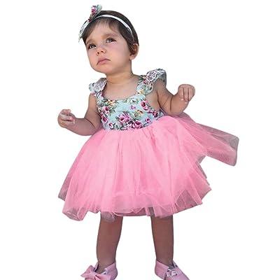 ❤️Filles Volants Manches Fleur Imprimer Patchwork Mesh Tutu Jupe,Sisit Toddler Bébé Filles Floral Robe Partie Robe de bal en Dentelle Tutu Robe Formelle Robe