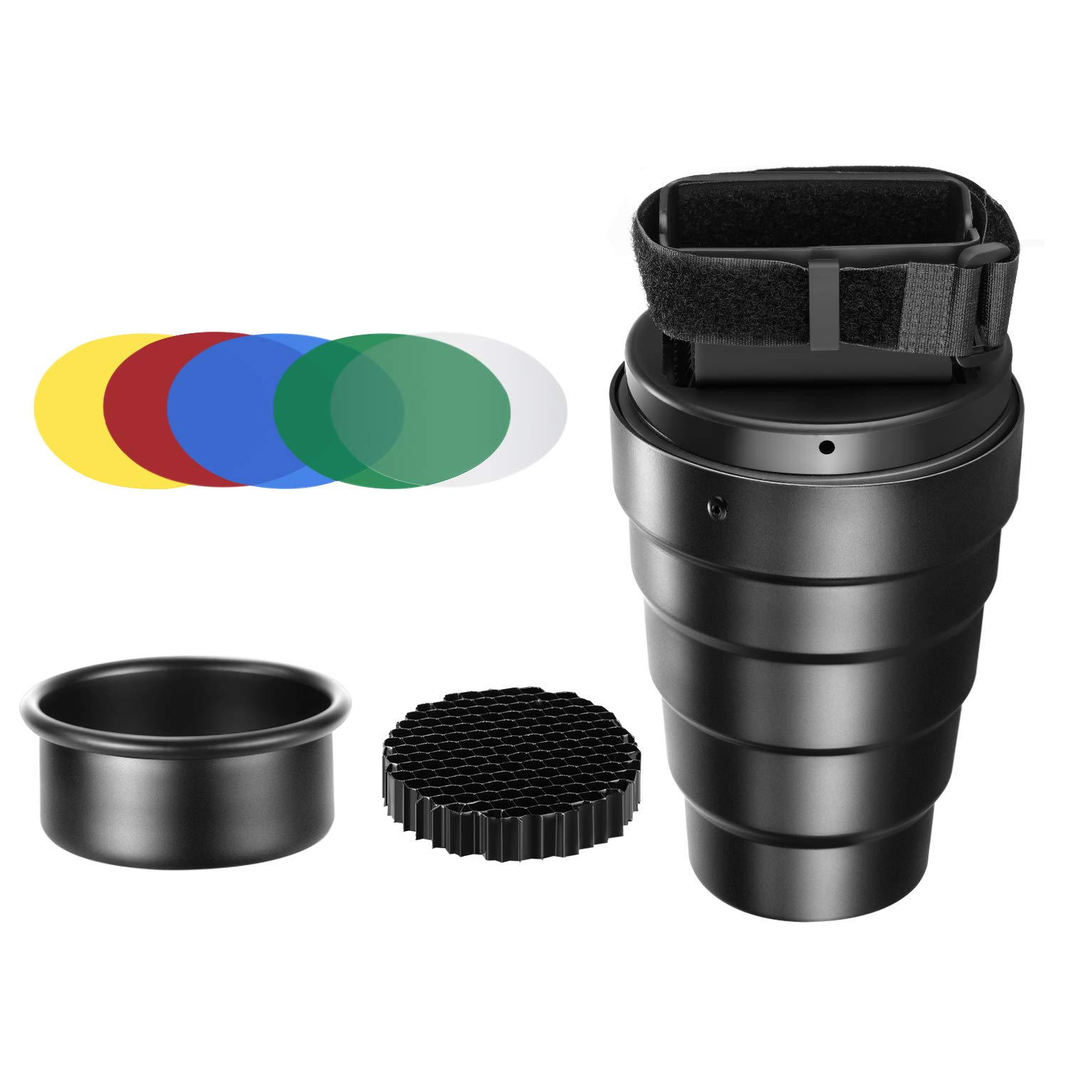 Neewer Aluminium Alloy Conical Snoot Kit with Honeycomb Grid and 5 Pieces Color Gel Filters for Canon Nikon TT560 NW561 NW562 NW565 NW620 NW630 NW680 NW670 750II NW910 NW880 Flash Speedlites 10093793