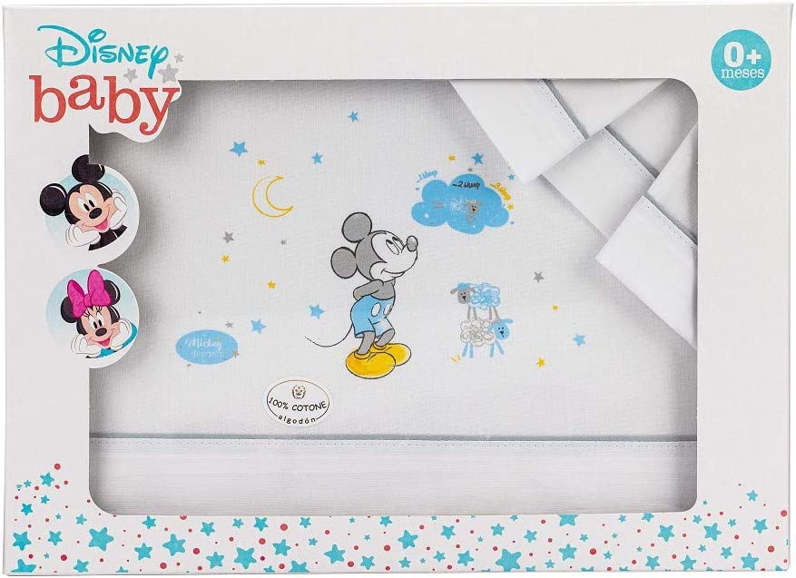 S/ábanas Disney Mickey Minicuna Algod/ón Blanco y Gris