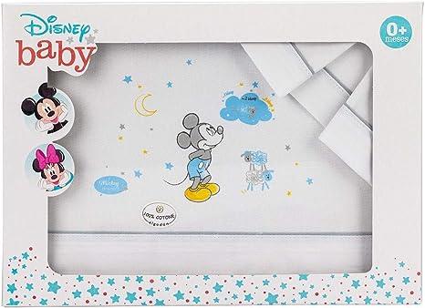 Sábanas Disney Mickey Minicuna Algodón Blanco y Gris: Amazon.es: Bebé