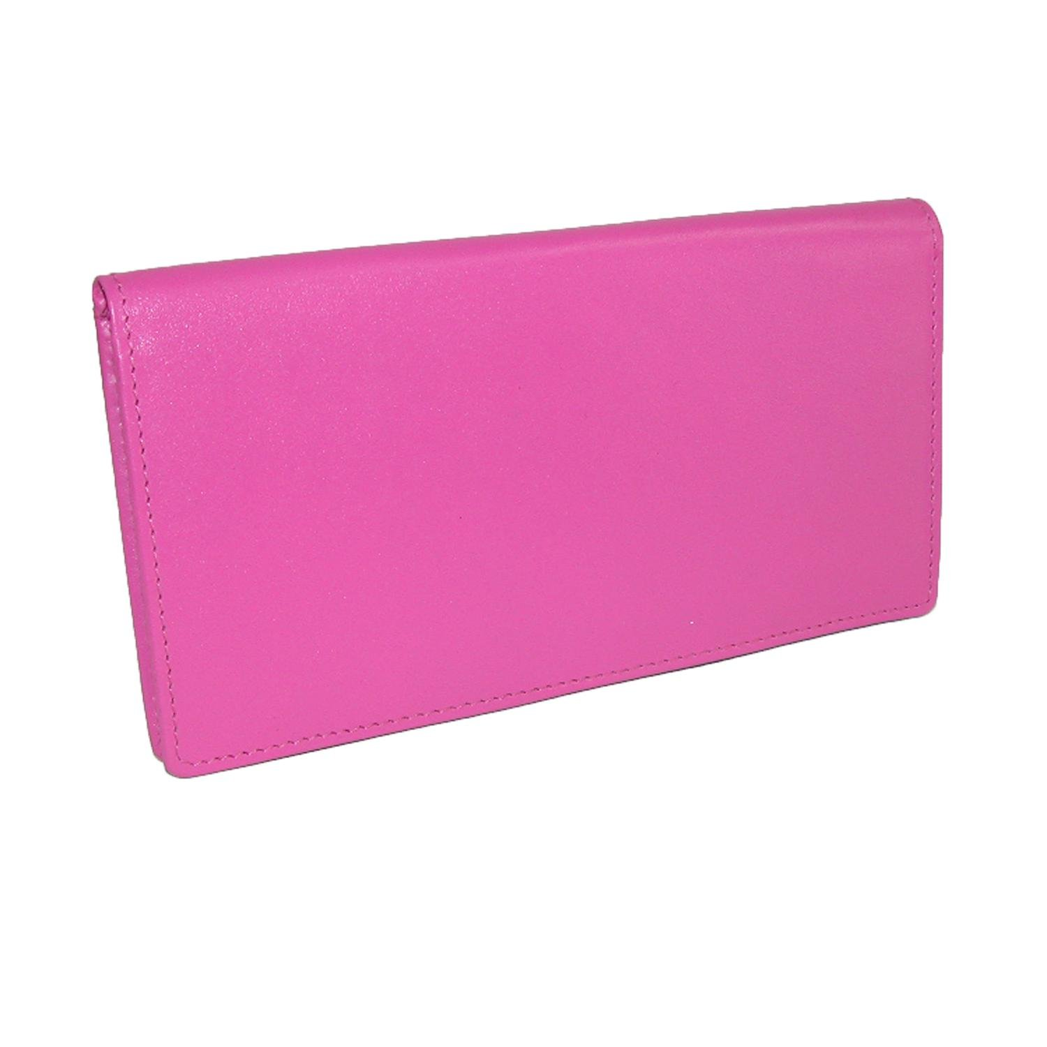 CTM Women's Leather Basic Checkbook Cover in Fashion Colors, Fuchsia