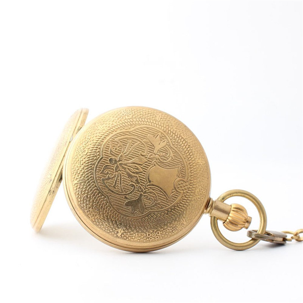 Zxcvlina Classic Smooth Creative Carving Golden Retro Pocket Watch Unisex Copper Mechanical Pocket Watch with Chain for Gift Suitable for Gift Giving by Zxcvlina (Image #4)