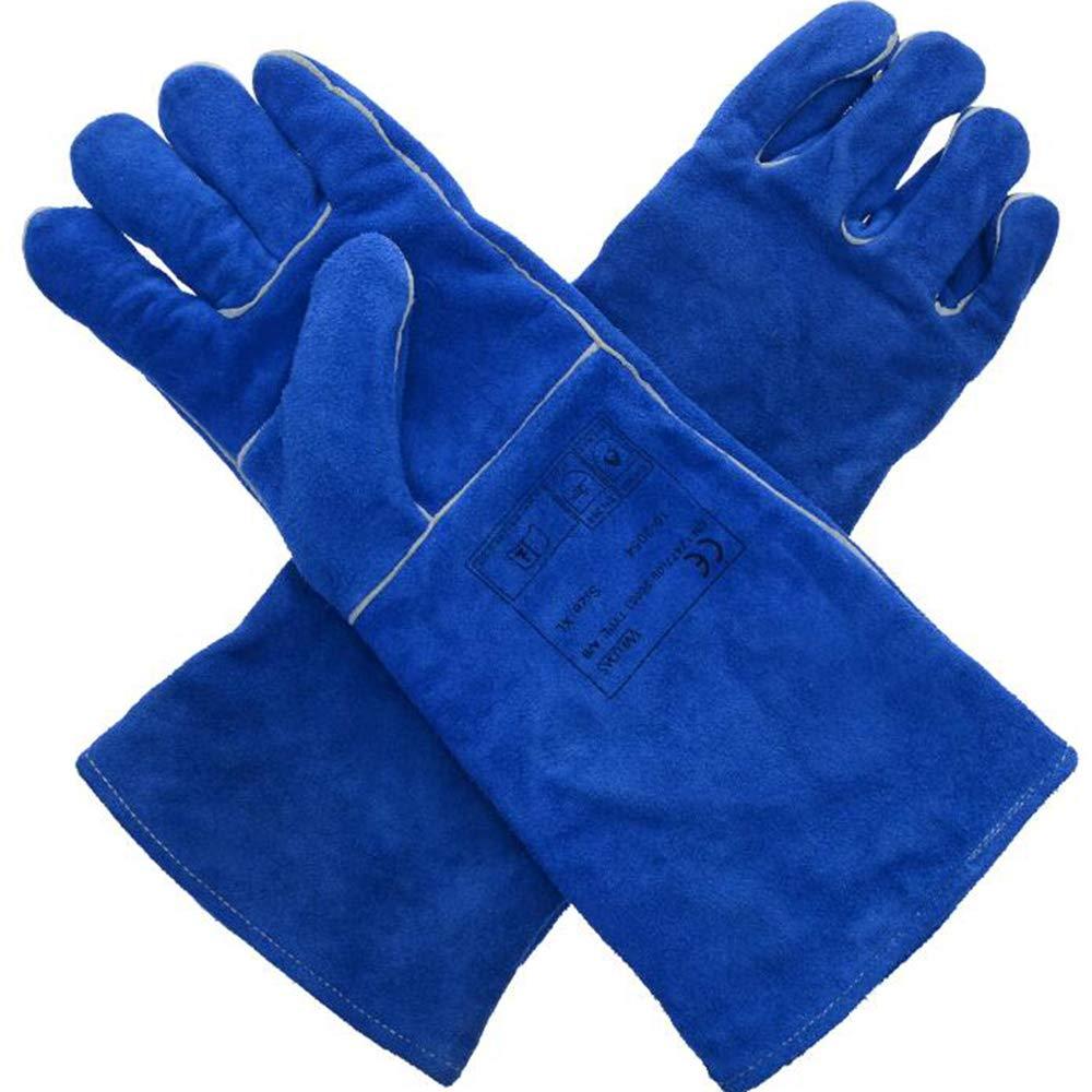 GG-gloves Guanti di Saldatura allungati, saldatrici in Pelle, Ispessimento Protettivo Resistente all'Usura, Guanti per Saldatura Resistenti alle Alte Temperature