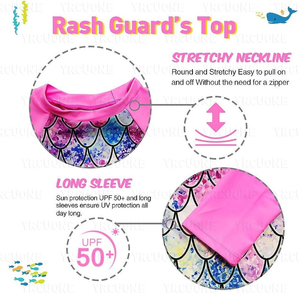 2-8 Years YRCUONE Girls Long Sleeve Rashguard Swimsuit Set Two Piece Beach Bikinki Swimwear Bathing Suits with UPF 50