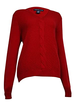 American Living Women's V-Neck Cable Ribbed Sweater (L, Rich Red)